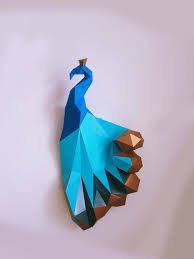 Paper Craft DIY Peacock With Golden Tail