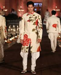 Ivory Light Matka Silk Sherwani Set