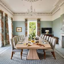 Inspiration For A Large Traditional Enclosed Dining Room In Other With Blue Walls Carpet And