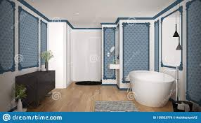 modernes weiß blaues badezimmer im klassischen zimmer