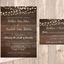 Printable Rustic Wedding Invitation With Lights 5x7 RSVP Card