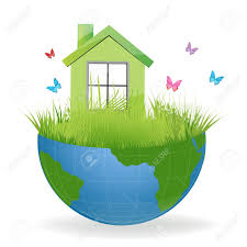 100 House Earth Illustration Of Green On Half With Colorful Butterflies