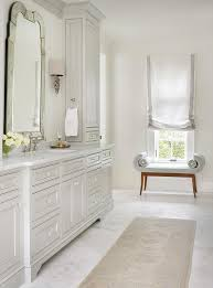 light grey bathroom cabinets with glass knobs transitional