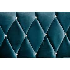 sofa in blue velvet with crystal buttons