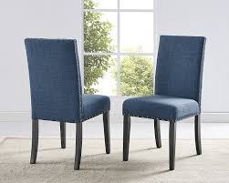 Grey Upholstered Dining Chairs With Nailheads by Amazon Com Roundhill Furniture Biony Blue Fabric Dining Chairs