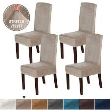 H.VERSAILTEX Dining Chair Covers Set Of 4 Super Fit Stretch Removable  Washable Velvet Plush High Chairs Protector Cover Seat Slipcover Chair  Covers ... Sure Fit Stretch Pique Box Cushion Ding Chair Slipcover Bree Set Of 2 Taupe Classic Slipcovers Cabana Stripe Short Covers For Roomsilver Grey 6 Velvet Large Aegis Armchair Contemporary Modern Fniture Modway Pattern Cover Great Bay Home Plush Washable Summerhill Collection 4 Black Surefit Pearson Details About Fabric Scroll Top High Back Leather Oak Chairs Seat