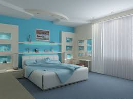 Attractive Light Blue Bedrom Decorating Ideas With Built In Wall