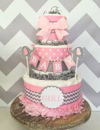 Baby Girl Diaper Cake In Pink And Gray Elephant Shower Centerpiece Chevron By