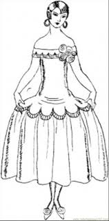 Lady In Pretty Dress Coloring Page