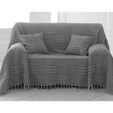 jetés de canapé boutis ou jeté de canapé jacquard coton becquet noir becquet
