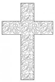 Abstract Leaves Printable Cross Coloring Page
