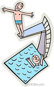 Swimming Pool With Diving Board Royalty Free Vector Clip Art Illustration Vc015555