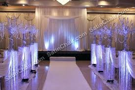 Indoor Wedding Canopy Ceremony Arch Rental Crystal Beads Lighting Winter Wonderland Theme
