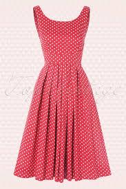 50s isobel white polkadot dress in red