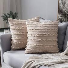 2er set dekorative kissenbezug mit tassel fransen dekokissen boho weich kissenbezüge quaste decor kissenhülle für sofa schlafzimmer