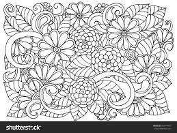 Doodle Floral Pattern In Black And White Page For Coloring Book Flower Carpet