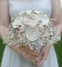 Rustic Wedding Bouquet Cream Ivory Sola Wood Flower Bridal Flowers Burlap Brides Wildflower