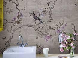 blumen tapete fürs badezimmer hanamachi by wall decò design