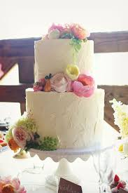 Buttercream Wedding Cake With Pastel Flowersjpg