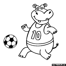 Free Hippo Soccer Player Online Coloring