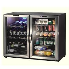 170L Double Glass Door Display Fridge For Beer Soft Drink Wine Cans And Bottles