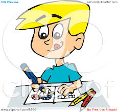 Royalty Free RF Clipart Illustration of a Blond Boy Drawing And