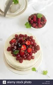 sommer home keks kuchen mit topfencreme dekoriert mit