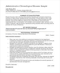 Senior Administrative Assistant Chronological Resume