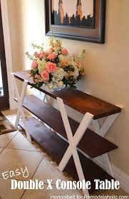 DIY Double X Console Table Build An Easy And Sleek For Your Home It Will Surely Add A Touch Of Rustic Charm