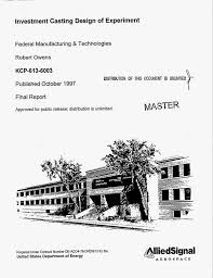 Investment casting design of experiment Final report Digital
