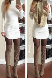 Dress Is Very Cute Unlike The Color Of Panty Hoes Thigh Highs Boots YES Daily Fashion Outfits