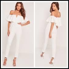 2017 Fashion New Wholesale Clothes Women Off Shoulder Jumpsuit Crepe Bardot Frill Detail