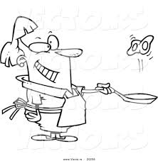 Vector of a Cartoon Woman Flipping Eggs in a Frying Pan Outlined Coloring Page
