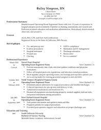 Operating Room Registered Nurse Resume Sample Professional Summary