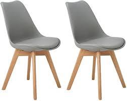 dorafair 2er set esszimmerstühle skandinavisches design mit massivholz eiche bein und kissen grau