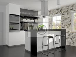 fototapete kleine küche mit kochinsel und theke