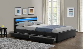 NEW Double King Size Bed Frame LED Headboard Night Light with