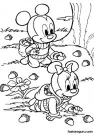 Printable Baby Mickey And Minnie Picking Nuts Coloring Pages