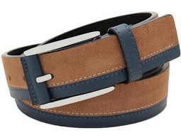 men casual single prong buckle color matching suede jeans leather belt