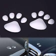 1 Pair Car Metal Stickers Cool Bear Dog Footprints 3D Stickers ...