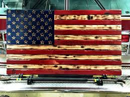 Hand Carved Rustic American Flag Burned Wood Art