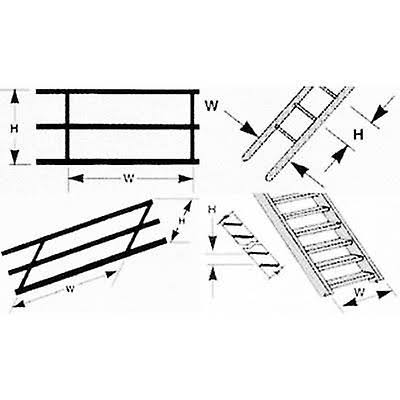 Plastruct 90691 Stair Rail Styrene (2) N,