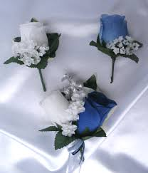 Silver Blue White Silk Wedding Flowers
