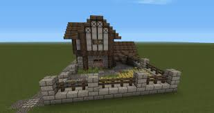 Minecraft House Floor Designs by Minecraft Medieval Barn Front Of The House With Garden Farm And
