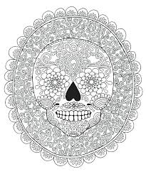 Free Art Therapy Coloring Pages For Adults Candy Skull Colouring Page Design Detailed Mexican