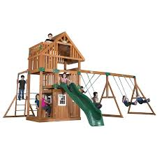 Backyard Discovery Oakmont Skyfort Ii Wood Swing Playset Play ... Backyards Gorgeous Backyard Wooden Swing Sets Ideas Discovery Montpelier All Cedar Playset30211com The Set Accsories Monticello Walmart Itructions Big Appleton Wood Toys Photo With Amazing Unbeatable For Solid Fun Image Happy Kidsplay Clearance Playsets