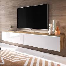 selsey tv lowboard in wotan eiche weiß hochglanz hängend stehend modern 2 klappen weiße led beleuchtung 180 cm