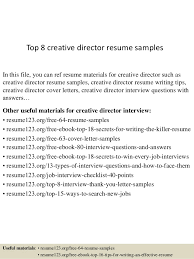 Top 8 Creative Director Resume Samples In This File You Can Ref Materials For