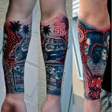 Lower Forearm Sleeve Mens Tattoo Of Muscle Car