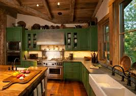 Vintage Wooden Roof Green Kitchen Cabinets